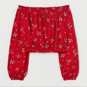 H&M Red Floral Off the Shoulder Top